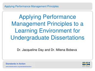 Applying Performance Management Principles to a Learning Environment for Undergraduate Dissertations