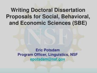 Writing Doctoral Dissertation Proposals for Social, Behavioral, and Economic Sciences SBE