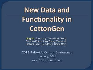New Data and  Functionality  in  CottonGen