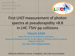 First LHCf measurement of photon spectra at  pseudorapidity  >8.8  in LHC 7TeV  pp  collisions