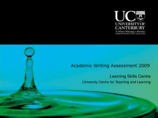 Academic Writing Assessment 2009