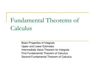 Fundamental Theorems of Calculus
