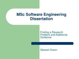 MSc Software Engineering Dissertation