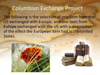 Columbian Exchange Project