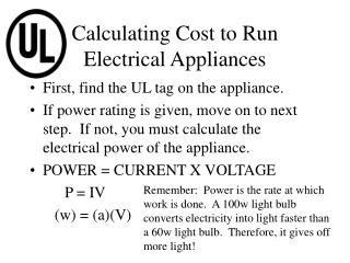 Calculating Cost to Run Electrical Appliances