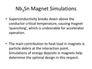Nb 3 Sn Magnet Simulations