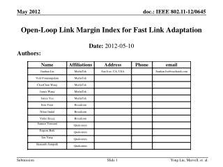 Open-Loop Link Margin Index for Fast Link Adaptation