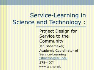 Service-Learning in Science and Technology :