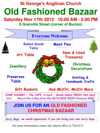 St George's Anglican Church Old Fashioned Bazaar Saturday Nov 17th 2012   10:00 AM - 2:00 PM