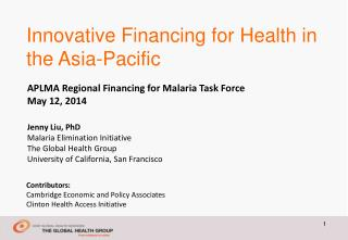 Innovative Financing for Health in the Asia-Pacific