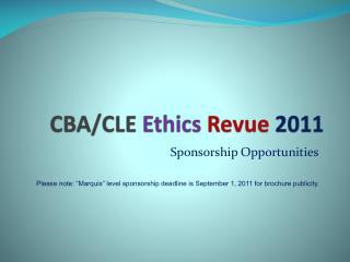 CBA/CLE  Ethics Revue 2011