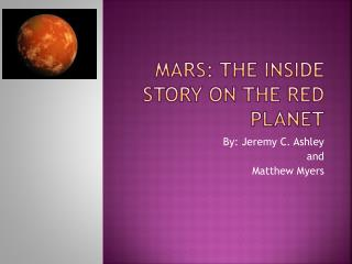 Mars: The Inside Story on the Red Planet