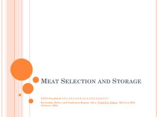 Meat Selection and Storage