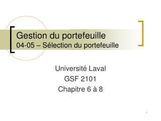 Gestion du portefeuille 04-05 – Sélection du portefeuille