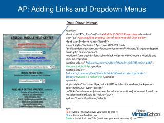 AP: Adding Links and Dropdown Menus