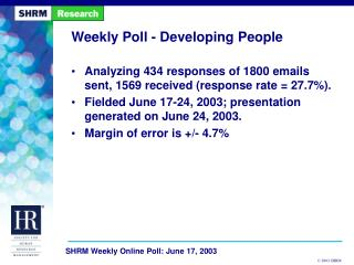 Weekly Poll - Developing People
