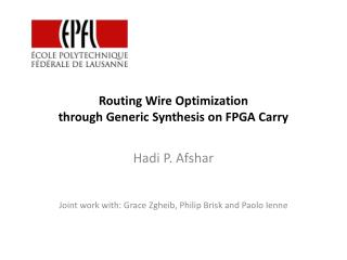 Routing Wire Optimization through Generic Synthesis on FPGA Carry