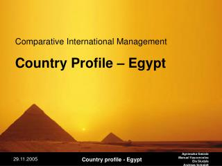 Comparative International Management Country Profile – Egypt