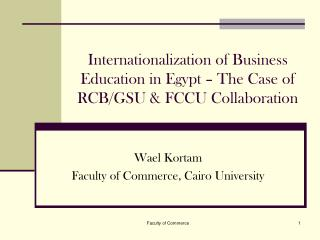 Internationalization of Business Education in Egypt – The Case of RCB/GSU & FCCU Collaboration