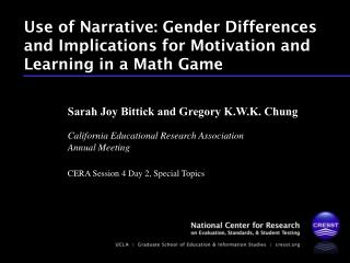 Use of Narrative: Gender Differences and Implications for Motivation and Learning in a Math Game