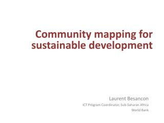 Community mapping for  sustainable development