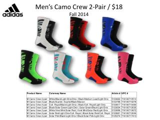 Men's Camo Crew 2-Pair / $18 Fall 2014