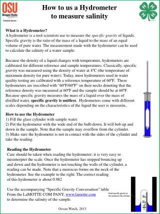 How to us a Hydrometer t o measure salinity