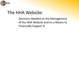 The HHA Website: