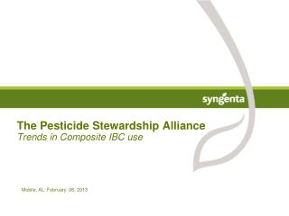 The Pesticide Stewardship Alliance Trends in Composite IBC use