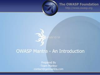 OWASP Mantra - An Introduction