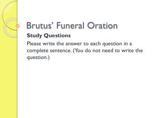 Brutus' Funeral Oration