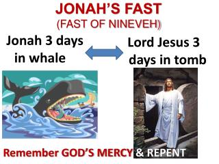 JONAH'S FAST (FAST OF NINEVEH)
