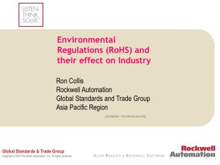 Environmental Regulations (RoHS) and their effect on Industry