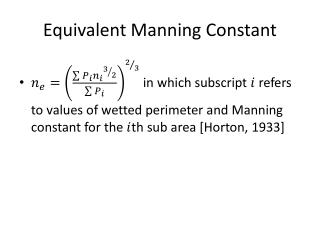 Equivalent Manning Constant
