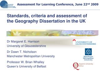 Standards, criteria and assessment of the Geography Dissertation in the UK