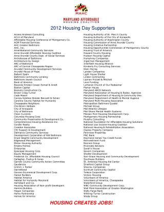 2012 Housing Day Supporters