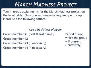 March Madness  Project