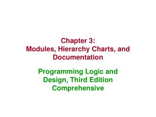 Chapter 3: Modules, Hierarchy Charts, and Documentation