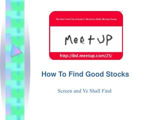 How To Find Good Stocks