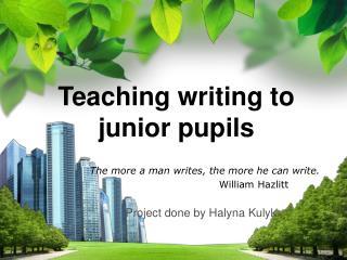 Teaching writing to junior pupils