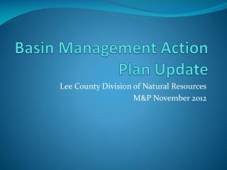 Basin Management Action Plan Update