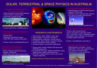SOLAR, TERRESTRIAL & SPACE PHYSICS IN AUSTRALIA