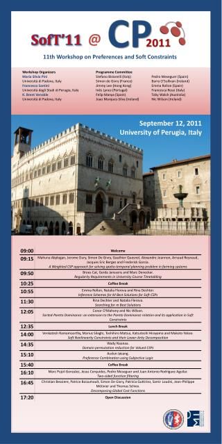 11th Workshop on Preferences  and  Soft Constraints