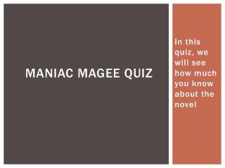 Maniac  magee  quiz