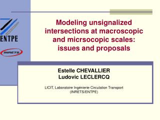 Modeling unsignalized intersections at macroscopic and micrsocopic scales:  issues and proposals