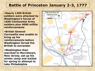 Battle of Princeton January 2-3, 1777