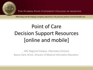 Point of Care Decision Support Resources [online and mobile]