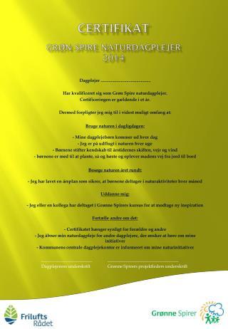 Certifikat Grøn Spire naturdagplejer 2014