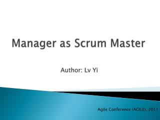 Manager as Scrum Master