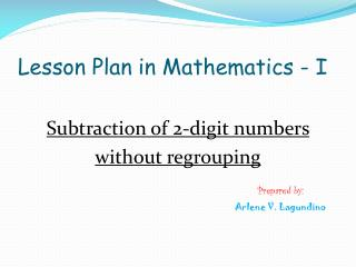 Lesson Plan in Mathematics - I